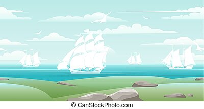 Sea landscape with ships
