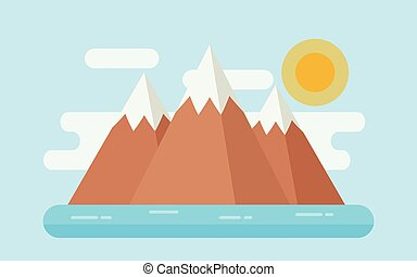 Sea landscape with snow mountains, island. Vector flat illustration.