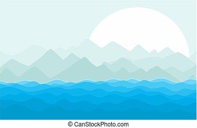 Sea landscape with sun.