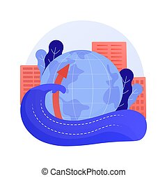 Sea level rise abstract concept vector illustration. World ocean rise report, global sea level data, water lifting cause, flood consequence, melting ice, environmental problem abstract metaphor.