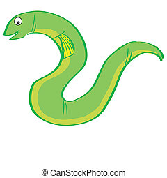 sea life - a green eel on a white background