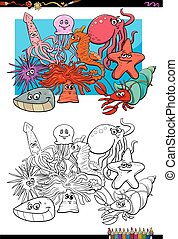 sea life animal characters coloring book - Cartoon...