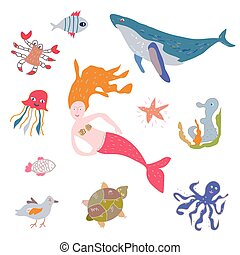 Sea life animals and mermaid set