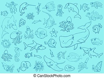 sea life animals background pattern