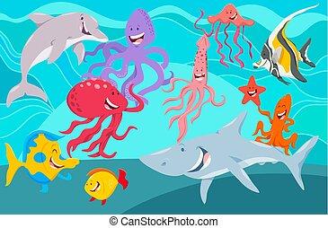 sea life animals cartoon characters group