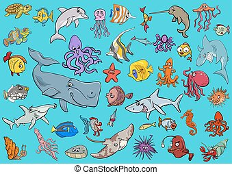 sea life animals cartoon set - Cartoon Illustrations of Sea...