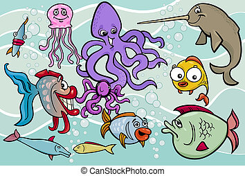 sea life animals group cartoon illustration