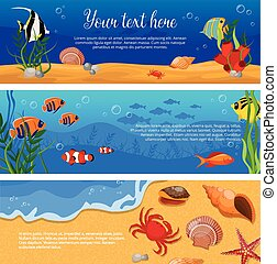 Sea Life Animals Plants Banner Set