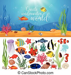 Sea Life Animals Plants Composition