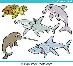 sea life animals set cartoon illustration