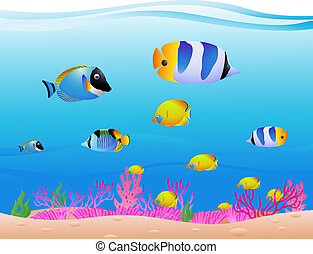 sea life background - vector illustration of