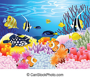 Sea life background - Vector illustration of beautiful sea...