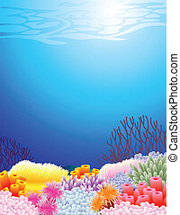 Sea life background - Vector illustration of sea life ...