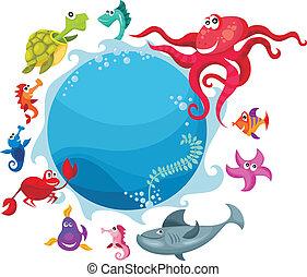 sea life card - vector illustration of a sea life