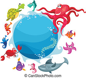 sea life card - vector illustration of a sea life