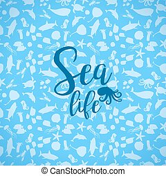 Sea life card with silhouettes