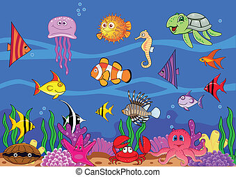 Sea life cartoon -  Vector illustration of sea life cartoon