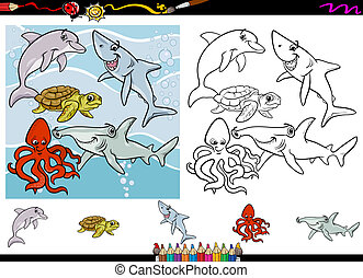 Cartoon Illustrations of Funny Sea Life Animals Characters Group for Coloring Book with Elements Set