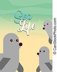 sea life cartoon - group of monk seals sea life vector...