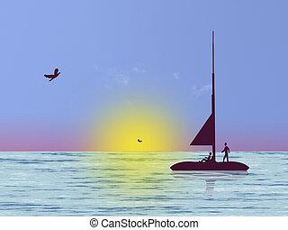 Sea life - Fisherman on sea