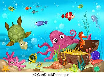 sea life - illustration of a sea life
