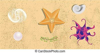 Sea life. Design elements io the sand