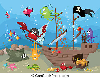 sea life - vector illustration of a sea life