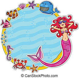 sea life frame - Frame with sea creatures and a mermaid...