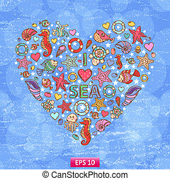 Sea life heart background