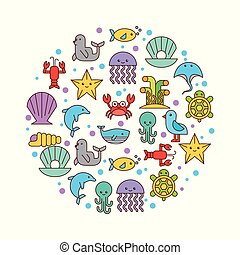 sea life icons set flat draw