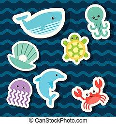 sea life icons set flat draw