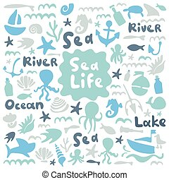 Sea life, ocean trip, underwater world, summer marine cruise. Stock doodle flat illustration. Blue, indigo, mint. Text sea, lake, ocean, river. Good for boys room, postcard, kindergarten, baby shower