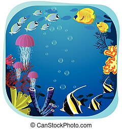 Sea life round frame with fish, jellyfish and coral