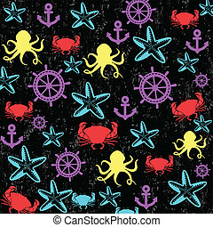 Sea life seamless pattern in different colours on black...