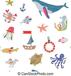 Sea life seamless pattern with funny design