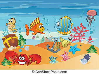 Sea life - Seascape with underwater creatures and sunken...