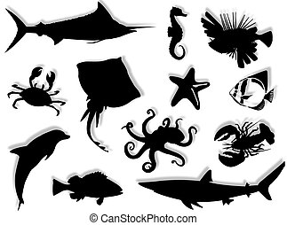 Sea-life black silhouette for this sea-life background