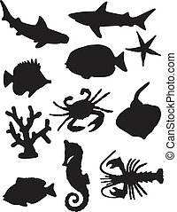 Sea Life Silhouettes - A vector illustration of some sea ...