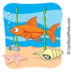 Sea life vector - Cartoon illustration of sea life scenery.