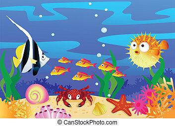 Sea life - vector illustration of sealife