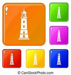 Sea lighthouse icons set color