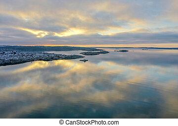 Sea lika a mirror in winter drone photo