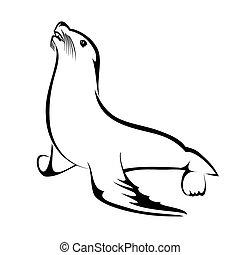 Sea Lion - Vector illustration : Sea Lion on a white...