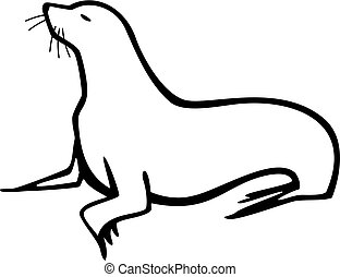 Sea Lion - stylized illustration of a sea lion, standing,...