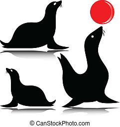 sea lion vector silhouettes