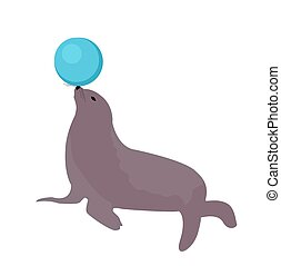 Sea lion with a ball, circus icon flat style, isolated on white background. Vector illustration.