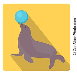 Sea lion with a ball, circus icon flat style with long shadows, isolated on white background. Vector illustration.