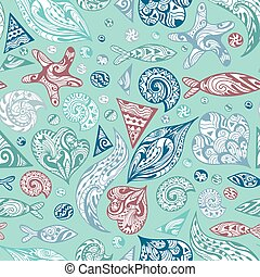 Sea Live Abstract Vector Pattern - Seamless ornamental...