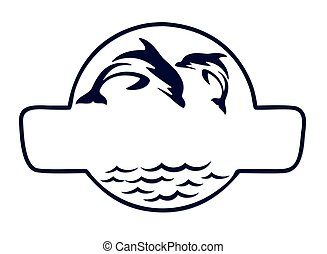 sea Logo with fish. - A sea logo with fish in jump.