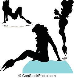 sea maid black vector illustration